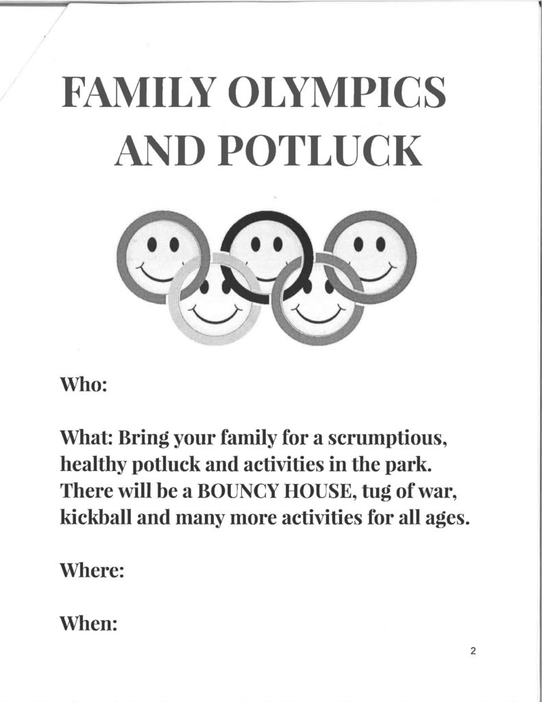 Wellness activities include Family Olympics